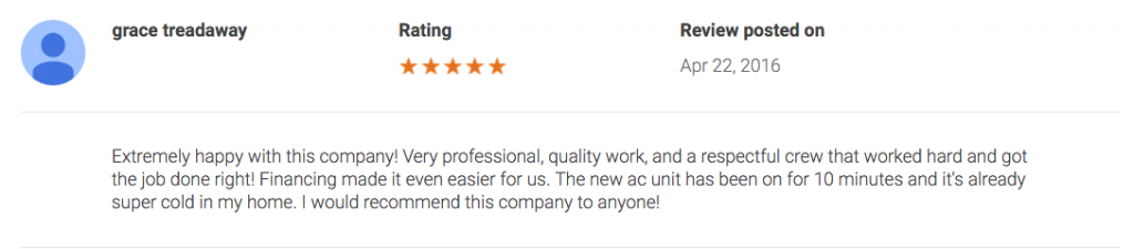 air conditioning company review