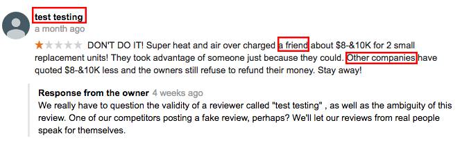 air conditioning company customer review fake